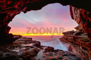 Coastal cave views to glorious sunrise over the ocean
