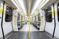 London, United Kingdom - May 12, 2019: Empty underground wagon. The Underground system serves 270 stations and has 402 kilometres.