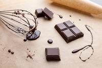 Delicious and bitter dark chocolate pieces