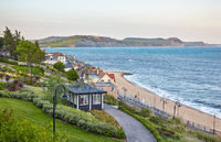 The beautiful view from the Seafront gardens to the Lyme Bay. Lyme Regis. West Dorset. England