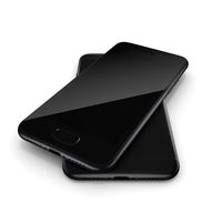 3D rendering black matt smart phone with black screen