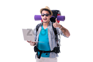 Tourist trying to find direction with laptop
