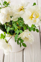 Bouquet of white garden roses, close-up