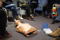 CPR course using automated external defibrillator device, AED.