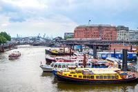 Motor boats in Hamburg port