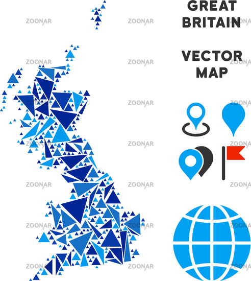 Foto Blue Triangle Great Britain Map Bild #12309286 Great Britain Map on