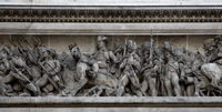 Triumphal arch in Paris low reliefs