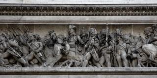 Triumphal arch in Paris low reliefs