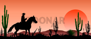 Desert, man riding a horse , cacti, sunset