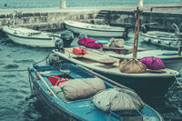 Retro vintage picture of boats in port
