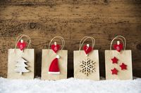 Christmas Shopping Bag In A Row, Wooden Background