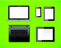 Laptop, tablet pc computer and mobile smartphone with a blank screen. Isolated on a green background. Vector