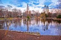 Vienna city park Stadtpark lake and landscape winter view