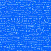 White hand-drawn complicated scientific formulas and calculations on blueprint plane, seamless pattern on white