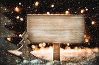 Christmas Tree, White Snow, Copy Space, Snowflakes, Sign