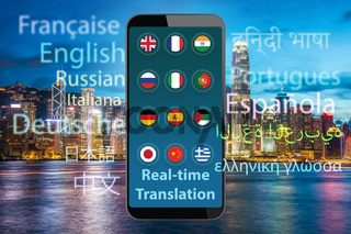 Concept of real time translation with smartphone app - 3d render