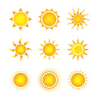 Set of nine different bright sun icons on white