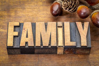 family word in vintage wood type