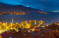 Ohrid lake town night. Macedonia