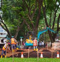 Public park developing works. Singapore