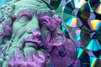 Antique statue of Homer head close up on a glitter CDs background. Concept of music, style, vintage.