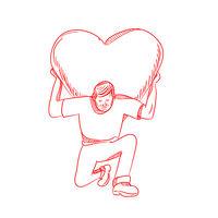 Modern Atlas Lifting Heart on Back Drawing