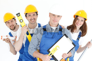 Workers with tools and contract