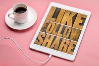 like, follow, share word abstract