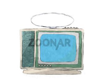 Watercolor retro tv set 2