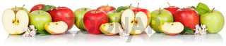 Apple fruits red and green apples banner fresh fruit isolated on white in a row
