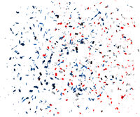Confetti in red, blue and white colors on a white background. Vector