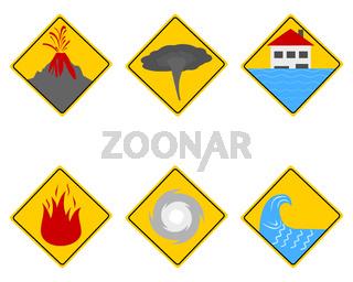 Verkehrsschilder Naturkatastrophen - Traffic warning sign natural disasters