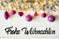 Purple Balls, Calligraphy Frohe Weihnachten Means Merry Christmas