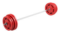 red barbell isolated on white background. 3d illustration