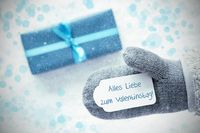 Turquoise Gift, Glove, Valentinstag Means Happy Valentines Day, Snowflakes