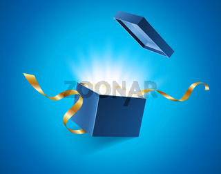 Blue opened 3d realistic gift box with magical shining glow and golden ribbons flying off cover, place for your text vector illustration