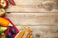 Autumn Fruits And Vegetables On Wooden Table