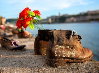 Shoes on embarkment of Danube