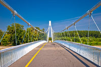 Drava river pedestrian bridge in Osijek