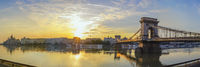 Budapest Hungary, sunrise panorama city skyline sunrise at Danube River