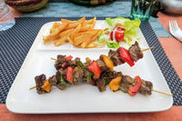 grilled meat and vegetables, photo as background