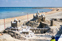 Sand castle on the beach of El Campello. Alicante. Spain