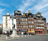 half-timbered houses on the Place des Lices Square in the historic old town of Rennes in Brittany