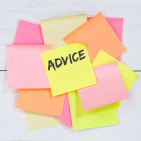 Advice support help assistance problem solution business concept desk note paper