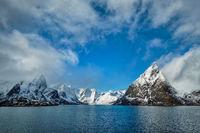 Norwegian fjord and mountains in winter. Lofoten islands, Norway