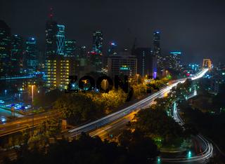 Skyline von Brisbane in Australien bei Nacht