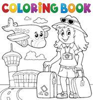 Coloring book tourist woman theme 2