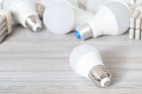 one white LED bulb light close up and lamps