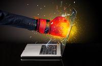 Firing hand breaking laptop screen glass