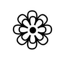 Flower icon simple isolated on white background.